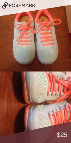 Super cute free run 3.0 Purchased from another posher and found another pair I loved so I'm sadly letting these go.  Sooooo adorable. Tiffany blue and bright orange. Amazingly comfortable. Sock fitted.  Lots of life left. Selling for less than I purchased for so price firm. Thanks for shopping!!  Free gift always included Nike Shoes Athletic Shoes