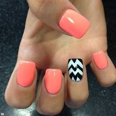 Be crazy and funky with this bright colored nail art design, the nails are colored with salmon, white and black combination which is very pleasing to the eye. A very unique sand simple style that you can easily recreate on your own nails.