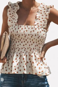 Women Shirred Floral Print White Peplum Sleeveless Casual Blouse Top - S Cropped Tank Top, Crop Tank, Tank Tops, Mode Wax, White Peplum, Cute Crop Tops, Looks Style, Fashion Outfits, Fashion Trends