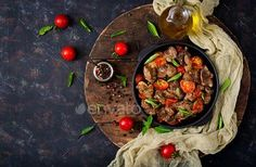 Chicken liver (offal) with onions and tomatoes in a frying pan in Armenian. Top view by Timolina on PhotoDune. Chicken liver (offal) with onions and tomatoes in a frying pan in Armenian. Chicken Livers, Liver And Onions, Food Flatlay, Dinner Dishes, Lunch Recipes, Tasty, Beef, Snacks, Gourmet