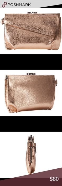 "Liebeskind® Patsy Clutch in copper & dust bag, NWT Add a shining touch to your evening attire with the Liebeskind® Patsy bag in metallic copper. Great for use as a pouch or make up organizer too!  Brand New with Tags.  Dust cover included.  100% Soft Calf Leather, Imported, Synthetic lining, Clasp closure, 5"" high x 7"" wide x 1.5""  deep, Pouch with main compartment and wristlet strap, Signature logo detail in front. Liebeskind Bags Clutches & Wristlets"