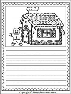 Free Gingerbread House Writing Page with print practice lines. Great writing addition for your Gingerbread Man unit.