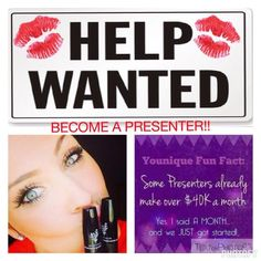 Want to earn some extra money at home? Younique Products Fastest growing home based business! Join my TEAM! Younique Make-up Presenters Kit! Join today for only $99 and start your own home based business. Do you love make-up? So many ways to sell and earn residual income!! Your own FREE Younique Web-Site and no auto-ship required!!! Fastest growing Make-up company!!!! Start now doing what you love!! http://www.youniqueproducts.com/MDMakeupandBigLashes