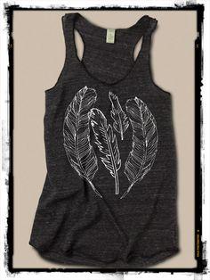 Feathers Navajo Girls Ladies Heathered Tank Top Shirt silkscreen screenprint Alternative Apparel on Etsy, $20.00