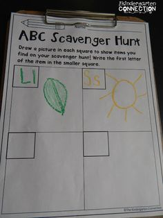 5 FUN Ways to Learn the Alphabet - The Kindergarten Connection Scavenger hunt, uppercase and lowercase letters, outdoor activities, get to go outside, Kindergarten Language Arts, Kindergarten Learning, Kindergarten Centers, Preschool Literacy, Alphabet Activities Kindergarten, Kindergarten Scavenger Hunt, Zoo Phonics, Classroom Language, E Learning