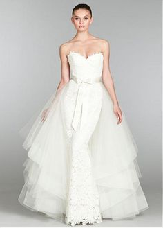 CHARMING LACE TULLE SATIN TRUMPET SWEETHEART NECKLINE WEDDING DRESS WITH DETACHABLE TRAIN FORMAL PROM