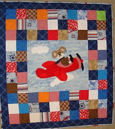 """AVIATOR   35"""" x 35""""  Machine Pieced, Free Motion Quilting.. QUILTS BY MARISELA."""