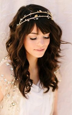 This girl has THE most beautiful hair - just wow.  Boho bride's down bridal hair ideas  Toni Kami Wedding Hairstyles ♥ ❷ Hair jewelry
