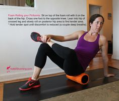 Loosen it up by foam rolling your piriformis.Your piriformis is a narrow muscle that lies underneath your larger glutes in your butt. This muscle helps you run and rotate your hip. When the piriformis tightens up runners will experience a Piriformis Muscle, Gluteal Muscles, Piriformis Exercises, Yoga Sciatica, Foam Roller Exercises, Back Exercises, Hip Stretching Exercises, Calf Stretches, Flexibility Exercises