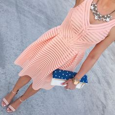 Peach flare dress, nude sandals, statement necklace and polka dot clutch // http://www.stylishpetite.com/2015/04/daily-outfits-recent-purchases-and-bow.html