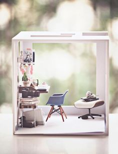 Tiny office. My ideas are so small, they just might work in an office like this!