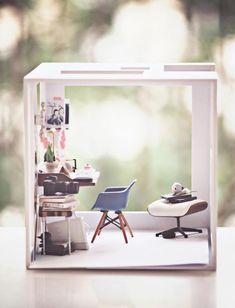 Miniaturas para casa de muñecas. Diorama estudio.