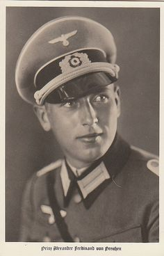 Prince Alexander Ferdinand of Prussia (26 December 1912--12 June 1985), only child of Prince August Wilhelm.  Like his father, Alexander was a supporter of Hitler and served in the German army.  When other princes earned Hitler's mistrust and were dismissed from their commands, Alexander was allowed to remain at his post.  In 1938 he forfeited his succession rights to marry Armgard Weygand, widow of a Luftwaffe major.  They had 1 son, Prince Stephan.