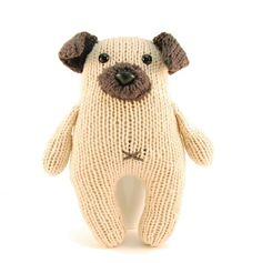 Wasabi the Gregarious Pug Knitting Pattern Pdf by dangercrafts