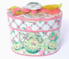 Nested Decorative Round Oval Hat Boxes Metal Tote Carrier