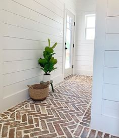 Interior Brick, Laundry/Mudroom, Entry Ways and hall ways. ideas laundry entry ways Raleigh Used Brick Flooring, Brick Kitchen Floors, Kitchen With Brick Floor, Brick Tile Floor, Brick Accent Walls, Home Reno, Cheap Home Decor, Mudroom, My Dream Home