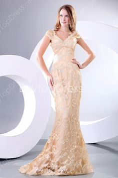 Charming V-Neckline Cap Sleeves Sheath Floor Length Champagne Lace Prom Dresses #DesignerDress #CheapDress  #MaxiDresses  #EveningDresses #PlusSizeMaxiDresses  #Fashion  #PromDress