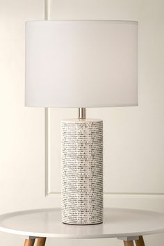 964 Richkid Patterned Ceramic Motif Lamp with White Shade