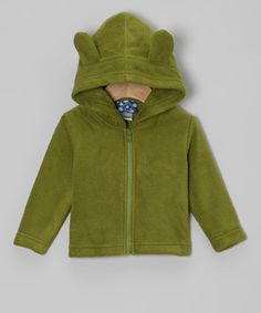 Take a look at this Moss Fleece Critter Zip-Up Hoodie - Infant & Toddler by KicKee Pants on #zulily today!