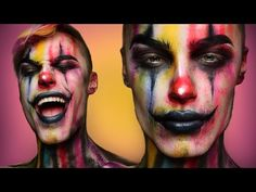 Creepy Colorful Clown - Halloween Makeup Tutorial - YouTube