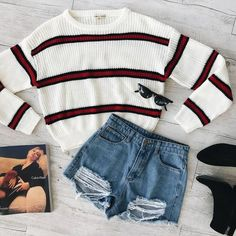 outfits with shorts WINTER WARMERS Slay in our Carried Away Knit Seattle Denim Shorts Online now or tap to shop! Cute Comfy Outfits, Cute Outfits For School, Teenage Outfits, Teen Fashion Outfits, Mode Outfits, Cute Summer Outfits, Outfits For Teens, Stylish Outfits, Fall Outfits