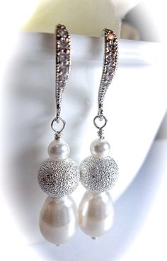 Pearl earrings White  Stardust beads  by QueenMeJewelryLLC on Etsy, $29.99