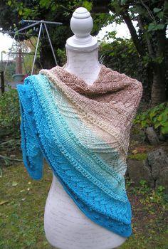 "Knitting pattern triangular scarf ""Pamukkale"" Knitting instructions knitted scarf ""Pamukkale"" by Knitteltante Pamukkale, Crochet Shawls And Wraps, Knitted Shawls, Knitting Socks, Textile Design, Needlework, Knitting Patterns, Knit Crochet, Fabric"