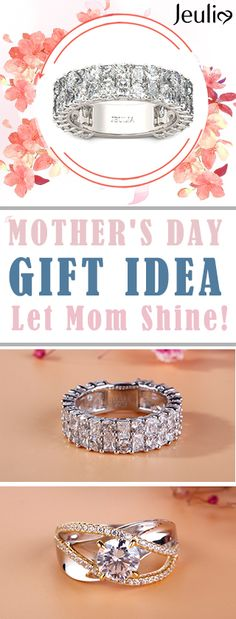Let's Mom Shine! Perfect Mother's Day Jewelry Gift! Premium Grade Rings, 100% Artisan Handcrafted. Find the best for HER. Let's your mother elegance every time. More Idea: Personalized Name Necklace / Charms Bracelet #GiftTrend #JeuliaJewelry #Mothersdaygift #Mothersday