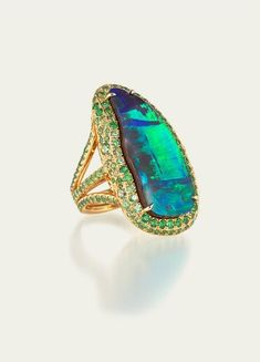 Tamsen Z by Ann Ziff, Boulder opal and demantoid garnet ring