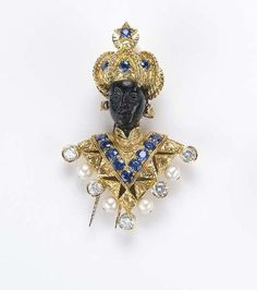 Blackamoor Brooch with A Diamond, Pearls and Sapphires in Gold...ESTIMATE $4,000-6,000