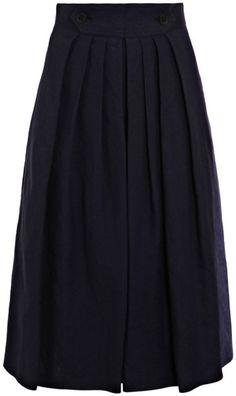 Burberry Prorsum Linen Skirt in Blue (navy)