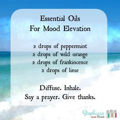 I got to the bottom after mixing the first 3 & realized I didn't have lime! So I went sniffing scents & threw in Citrus Bliss instead. Maybe not the same, but I like it :) Essential Oils for Mood Elevation - Stephanie Blue