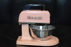 Vintage Child's Tin Toy MIX-ETTE Mixer w Bowl Very RARE Battery Operated Mixee #MIXETTE