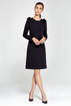Robe noire droite de soirée crayon ajustée femme Midi NIFE S75 36 38 40 42 44