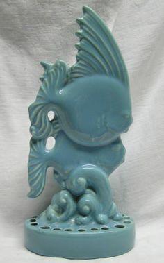 Vintage Tropical Fish Center Piece FLower Frog R Haeger Mid Century Art Pottery