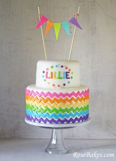 Chevron Rainbow Birthday Cake with Bunting/Flags on top! Click over for more pics and the matching smash cake!
