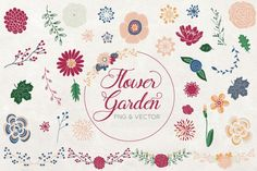 Flower Garden - Vector Clipart Set Flowers, leaf and Wreath By PicPixPic