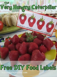 Very Hungry Caterpillar Food Labels. Free. Would be a cute kids' birthday party theme.