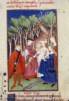 Christine de Pizan.  c. 1410-c. 1414 Detail of a miniature of Actaeon surprising Diana at her bath; he is turned into a stag as punishment, in 'L'Épître Othéa'.