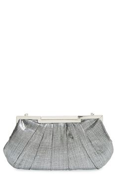 LA REGALE La Regale Metallic Frame Clutch available at #Nordstrom Silver Clutch, Casual Shorts, Metallic, Nordstrom, Elegant, Frame, Handbags, Projects, Shoes