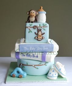 monkey themed baby shower cake