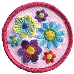 Flower, Circle, Daisy, Patch, Embroidered Patch, Merit Badge, Badge, Emblem, Iron On, Iron-On, Crest, Lapel Pin, Insignia, Girl Scouts, Boy Scouts, Girl Guides