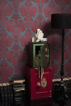 Striking large print battle ship grey damask wallpaper with ornate chocolate and rich crimson motif. From Cole and son Albemarle Collection, Luxury Wallpaper, Damask Wallpaper, Modern Wallpaper, Designer Wallpaper, Pattern Wallpaper, Bedroom Wallpaper, Wallpaper Ideas, Wall Paint Inspiration, Cole And Son Wallpaper