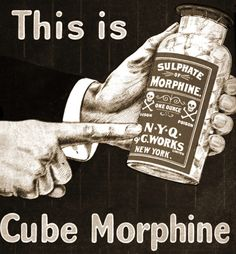 Captain Geoffrey Spaulding. Cube Morphine 1902. Probably just as foul as normal oral morphine - only novelty shaped.