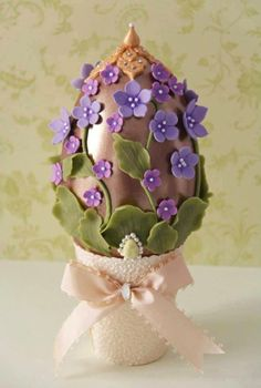 it says all things chocolate .well a chocolate egg sprayed and covered with modeling chocolate decorations?anyway I like the idea Chocolates, Egg Crafts, Easter Crafts, Easter Ideas, Hoppy Easter, Easter Eggs, Egg Cake, Spring Cake, Easter Parade
