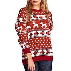 69cd3764592e0 Pelonina Christmas Sweatshirt Women Xmas Print Floral Long Sleeve O-Neck  Blouse Top Pullover Festival Outdoor