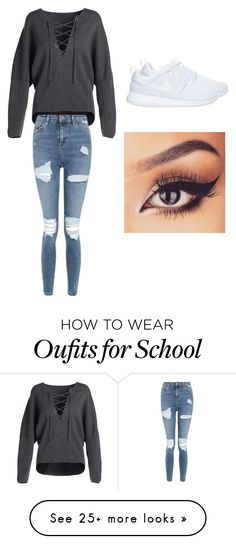 """School?"" by amiehuang on Polyvore featuring Vince, Topshop and NIKE"