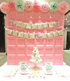Twins Baby Shower Dessert Table - we love that this backdrop is actually made from... square paper plates!