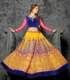Buy Yellow embroidered jacquard unstitched lehenga choli lehenga-choli online