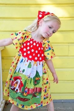 """I """"sew"""" want to make this dress! (I'm sorry.) peasant dress, michael miller gnomes fabric"""